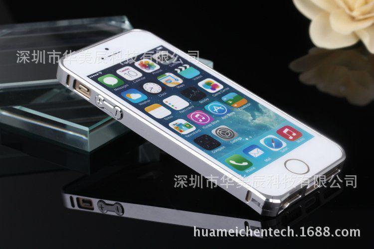 iphone5金属边框双色4s边框银边海马扣苹果超薄0.7mm手机壳pet雷射膜图片