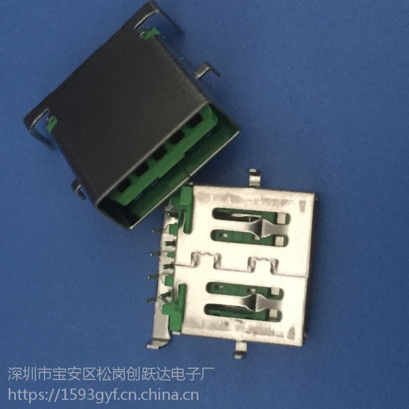 USB 3.0母座 9P 四脚沉板 绿色胶芯 A母破板式 直角 直边
