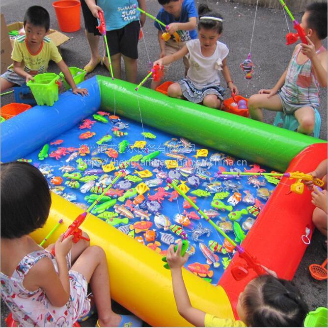 包邮儿童方形充气钓鱼池套餐 磁性钓鱼池玩具广场生意 钓鱼玩具套装专用水池