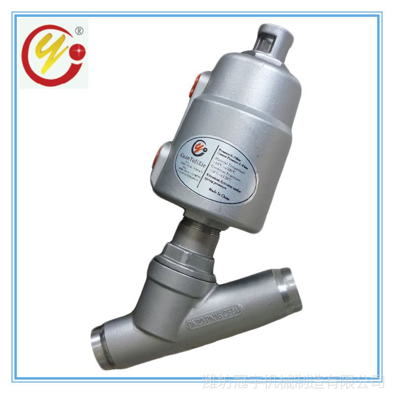 厂家直供不锈钢304气动角座阀 2寸接口焊接Y型常闭角座阀
