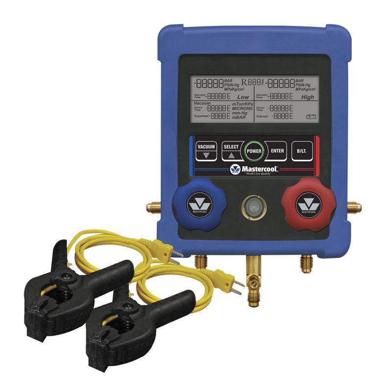 美国Mastercool 99103-A-2双通道HVAC带2个夹式热电偶数字歧管仪
