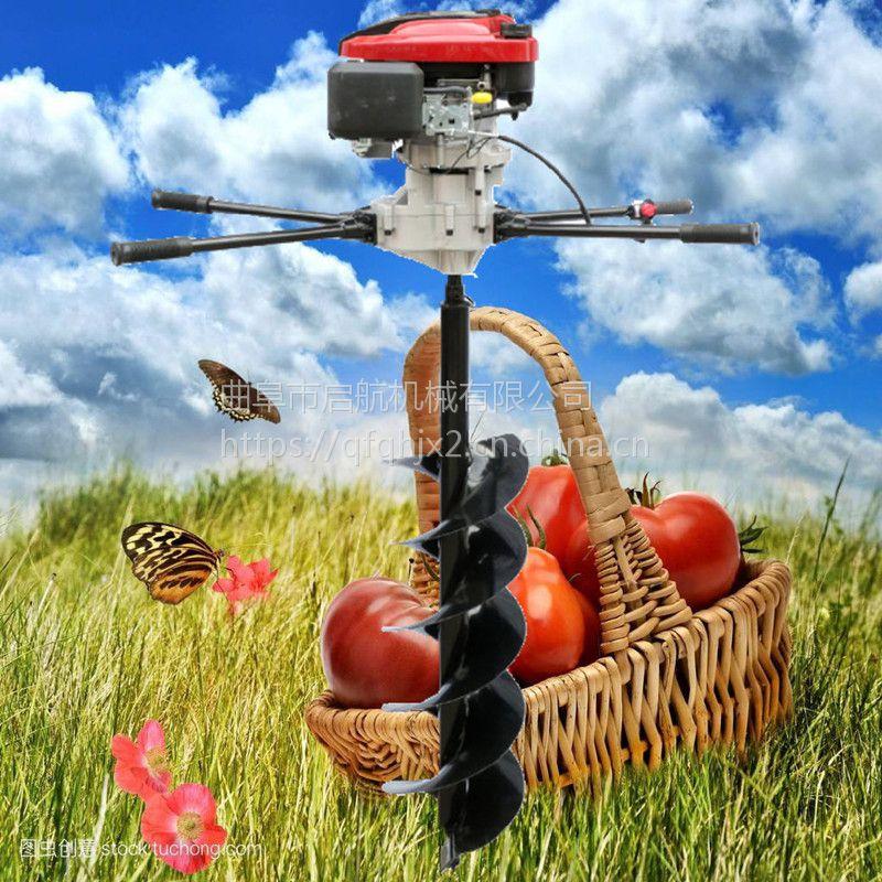 汽油手推果树施肥钻孔机 果树施肥打眼机 启航植树造林打坑机