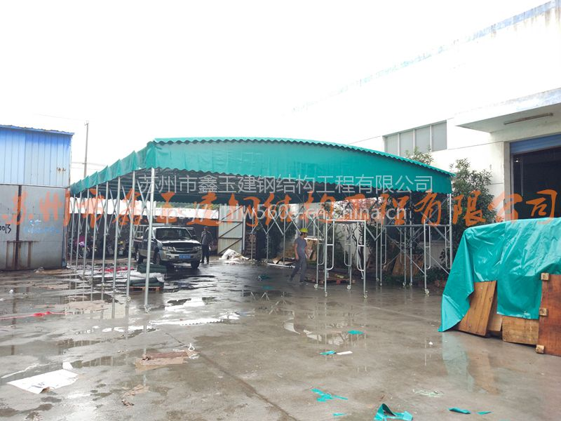 天津滨海新区电动移动雨蓬伸缩电动棚大型临时仓库帐篷定做