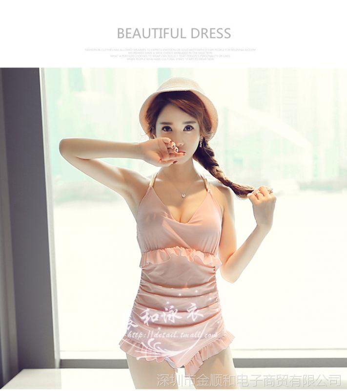 JSH日本聚拢钢托泳衣女连体遮肚大胸小胸女生图片韩国高校性感性感图片