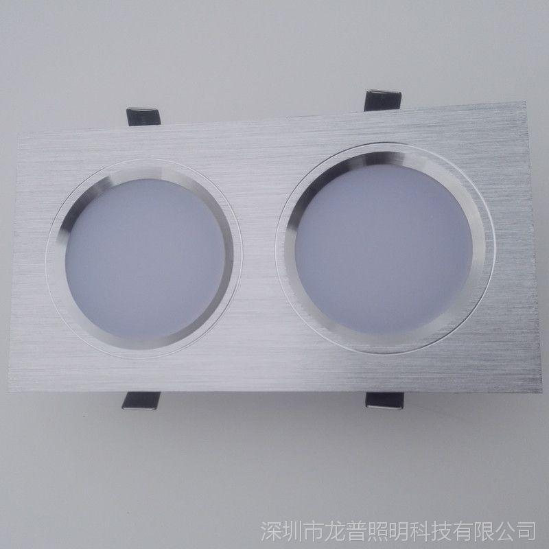 LED双头筒灯格栅灯长方形筒灯开孔10*208*16双头天花射灯6w10w24w