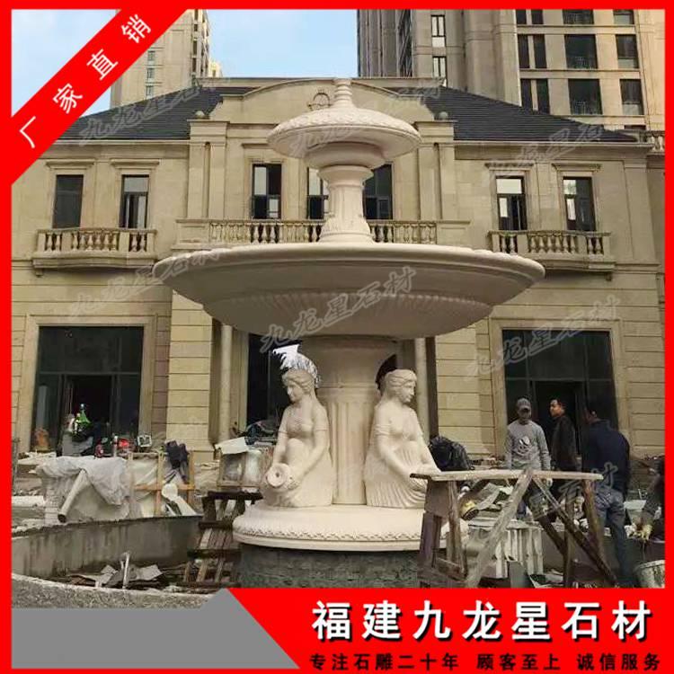 大理石喷泉 石雕跌水钵 流水雕塑摆件