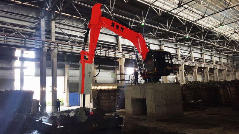 冶金铸造厂钢包炉渣清理用多功能固定式液压破碎机械工作臂