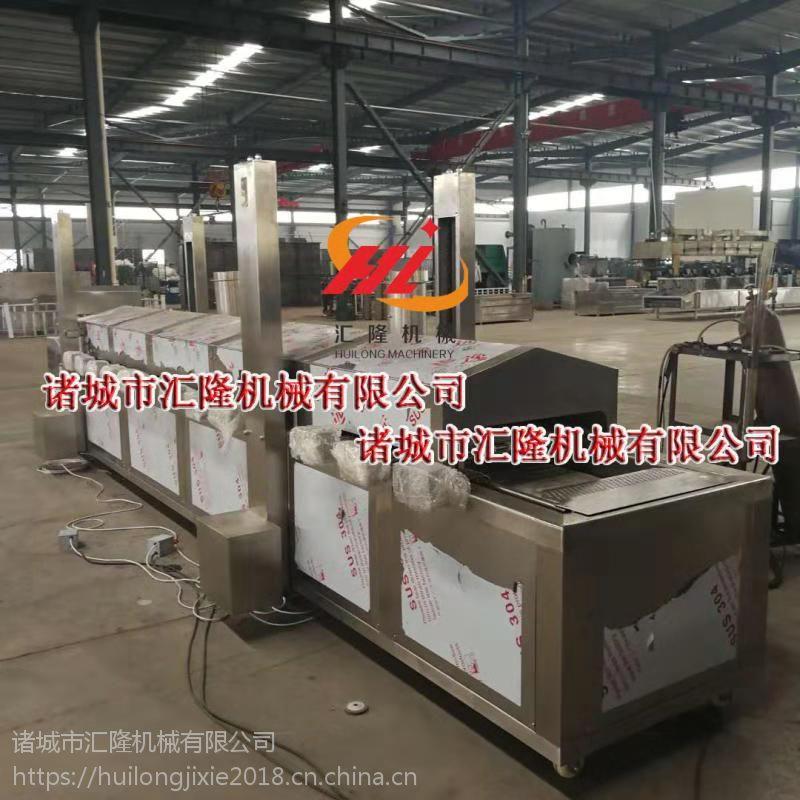 HLYZ-8000牛肉干油炸生产线 网带式油炸流水线厂家