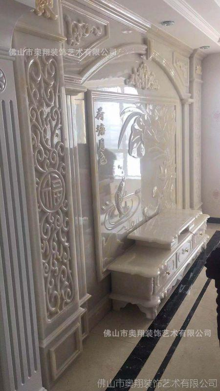高档复式玉石罗马柱背景墙, 通体岗石罗马柱 整体定制欧式背景墙