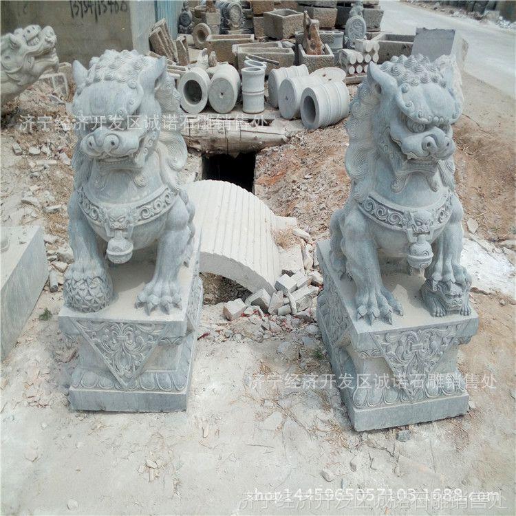厂家批发石雕狮子 汉白玉石头卧狮 供应墓地小石狮雕刻摆件