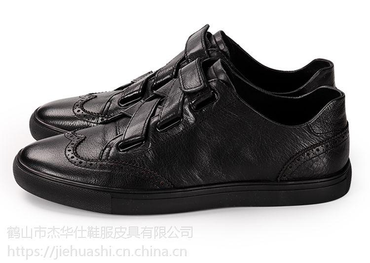 杰华仕皮鞋加工生产 休闲男单鞋头层牛皮透气 支持贴牌加工