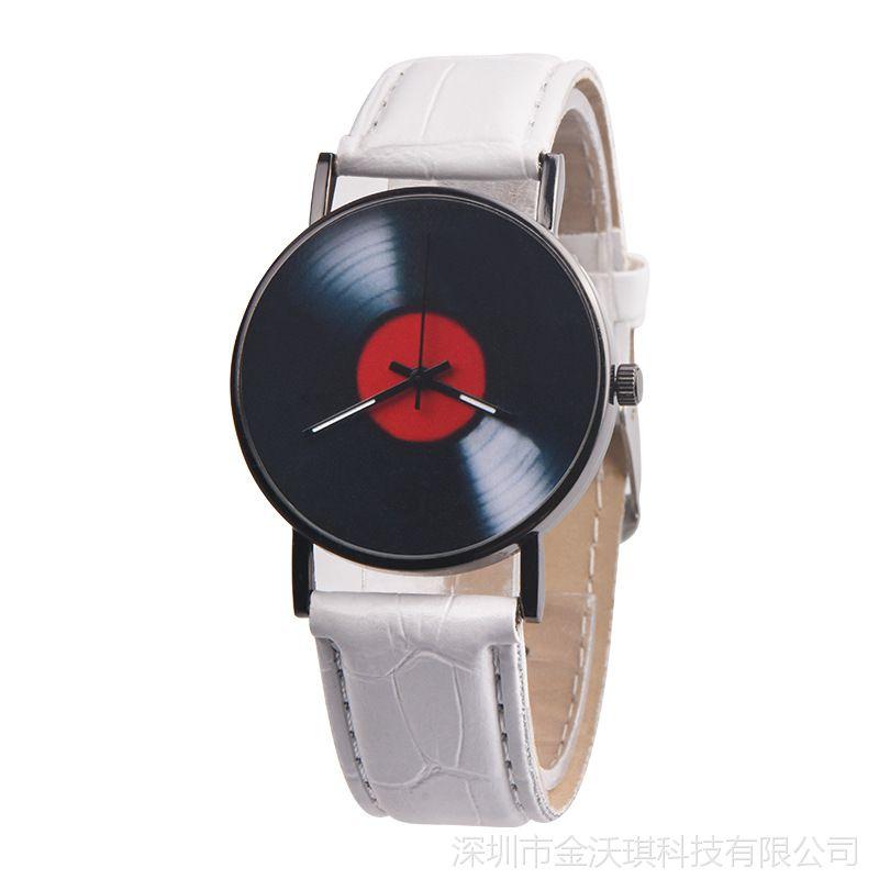 外贸热卖OKTIME 时尚个性光盘手表学生真皮手表男士皮带手表