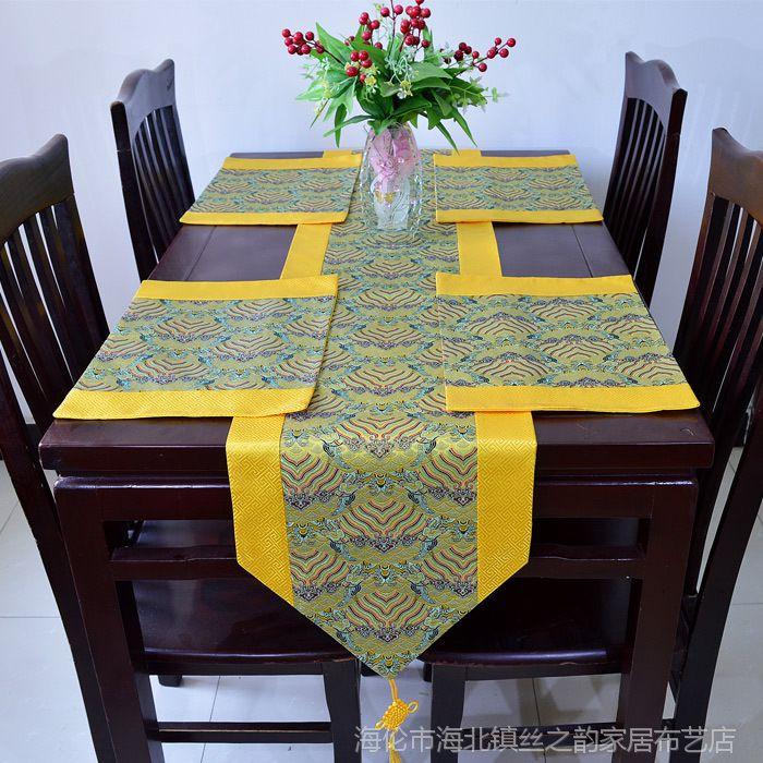桌旗中式现代奢华仿云锦餐垫 布茶几布柜台垫一件代发