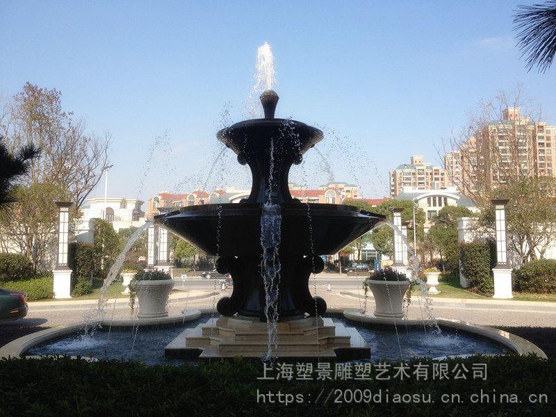 辽宁喷泉铜雕塑别墅雕塑铜喷水花钵别墅v喷泉十足现代感的小区图片