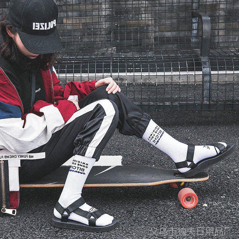 潮牌袜子男女长袜夏季滑板运动韩版街头欧美嘻哈字母高筒中筒袜