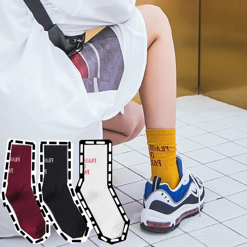 新品女袜子潮袜堆堆袜日系街头中筒运动袜韩国ulzzang学院风棉袜