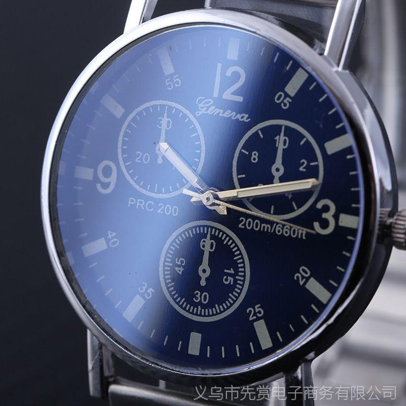 外贸新款中性手表女炫彩蓝光玻璃日内瓦假三眼钢带手表男士石英手