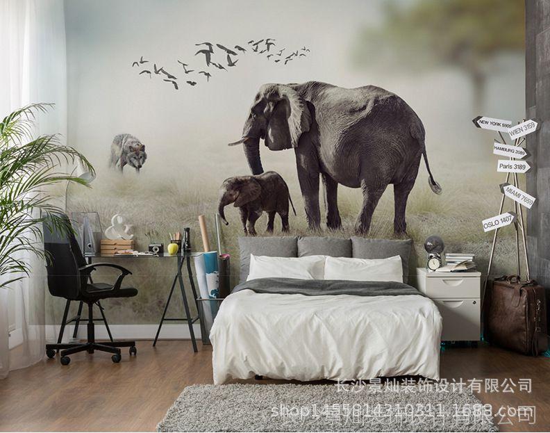 3D视觉壁画唯美自然风景大型图纸动物无缝世虎式坦克发动机立体图片