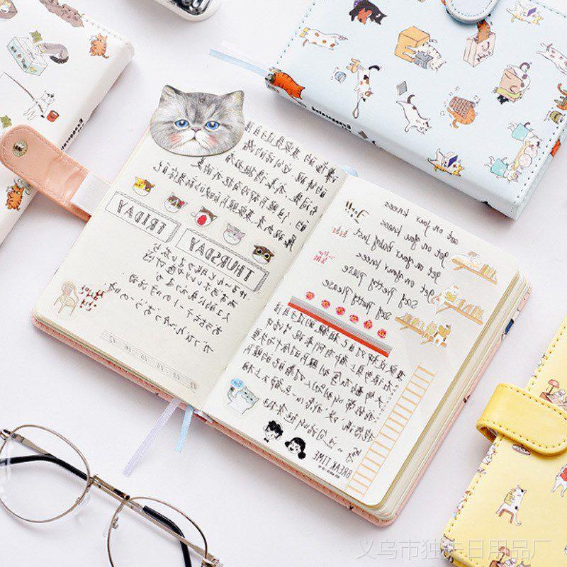 1109艺蓝可爱皮面笔记本文具手账本学生小清新记事本子日式手帐本