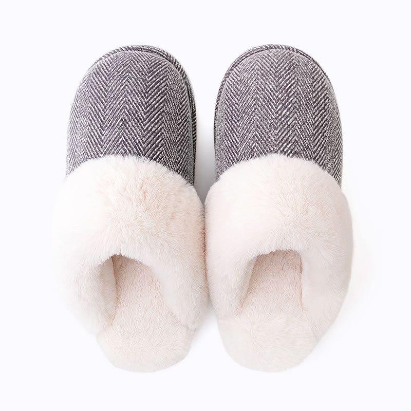 情侣居家棉拖鞋男士 冬季室内家居防滑厚底保暖毛毛拖鞋女冬 EVA鞋底