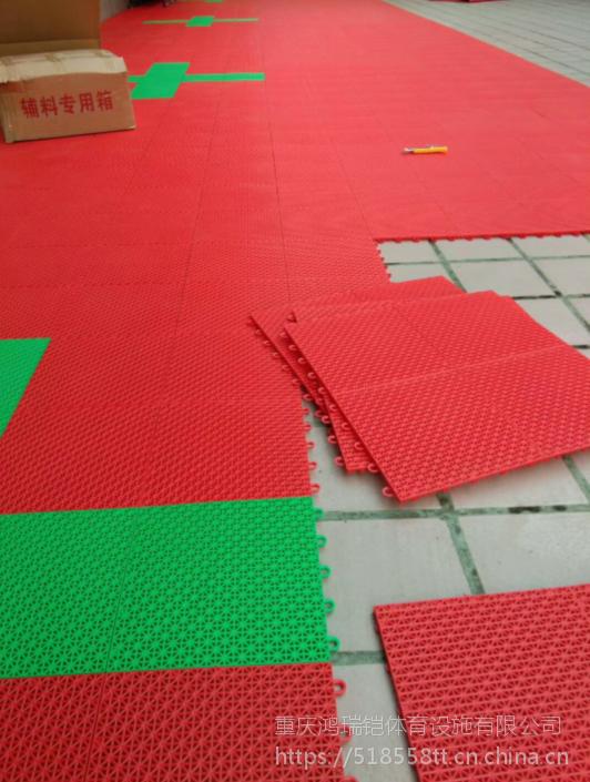"""重庆篮球场拼装地板石家庄""""英利奥""""牌悬浮式YLO-4436,规格-吉祥窗花,材质聚丙烯"""