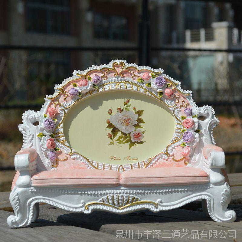 6寸欧式沙发相框粉色玫瑰花相架新款创意田园时尚装饰摆台摆件