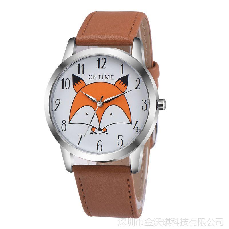 速卖通热卖 OKTIME小狐狸石英手表清新学生腕表男女表儿童手表