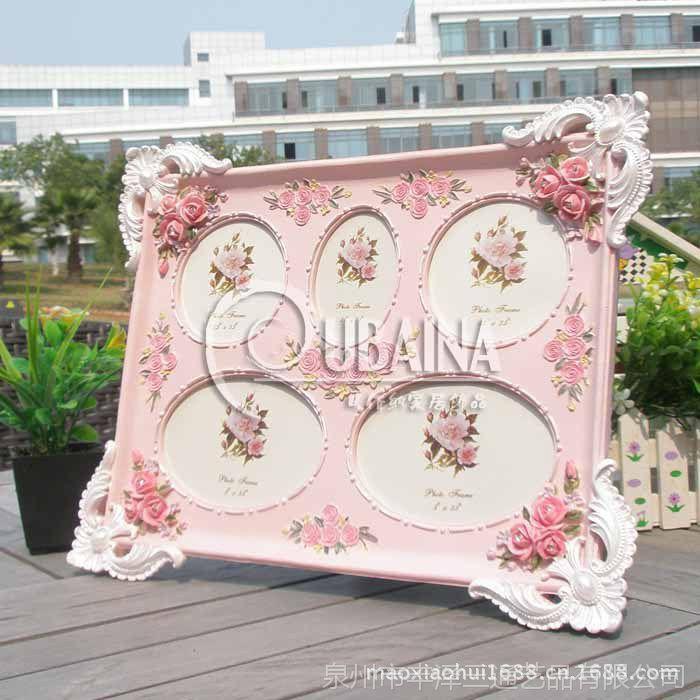 组合相框一件起混批田园树脂欧式相框相架粉红色树脂家居摆件批发