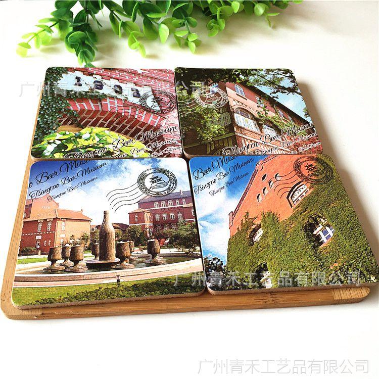 中国风复古茶杯垫厂家 中纤板软木杯垫定制 欧美风景纪念杯垫