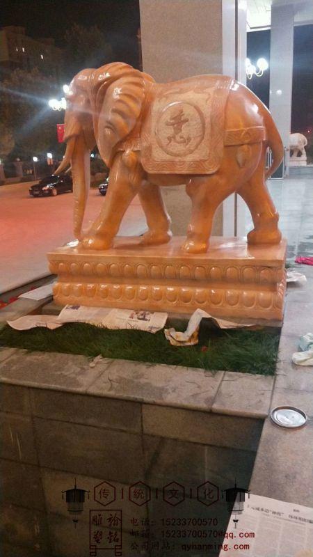 翰铭雕塑石雕晚霞红大象一对汉白玉酒店门口摆件招财镇宅别墅家用风水石象后期保养
