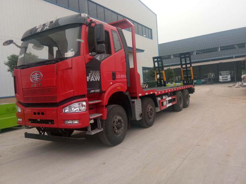 国六解放j6挖机拖车 前四后八平板运输车 大型勾机拖板车