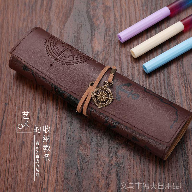 微商爆款 创意文具pu铅笔袋学生皮质卷笔袋藏宝图文具盒一件代发