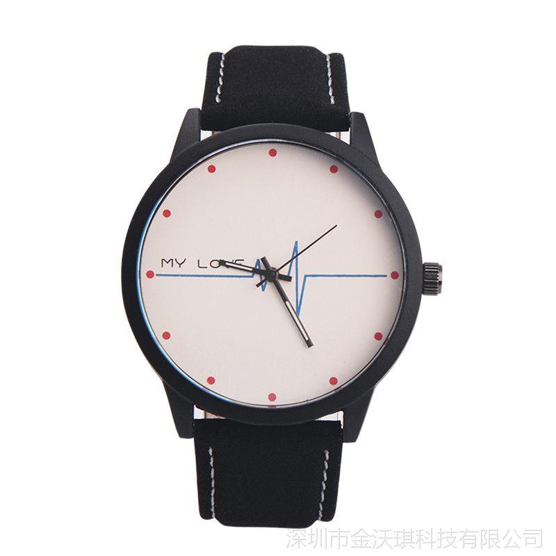 韩版原宿风 时尚流行真皮表带手表仿水石英手表 商务休闲男情侣表