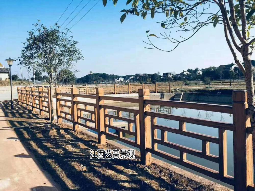 水泥仿木栏杆喷漆,仿木护栏油漆上色