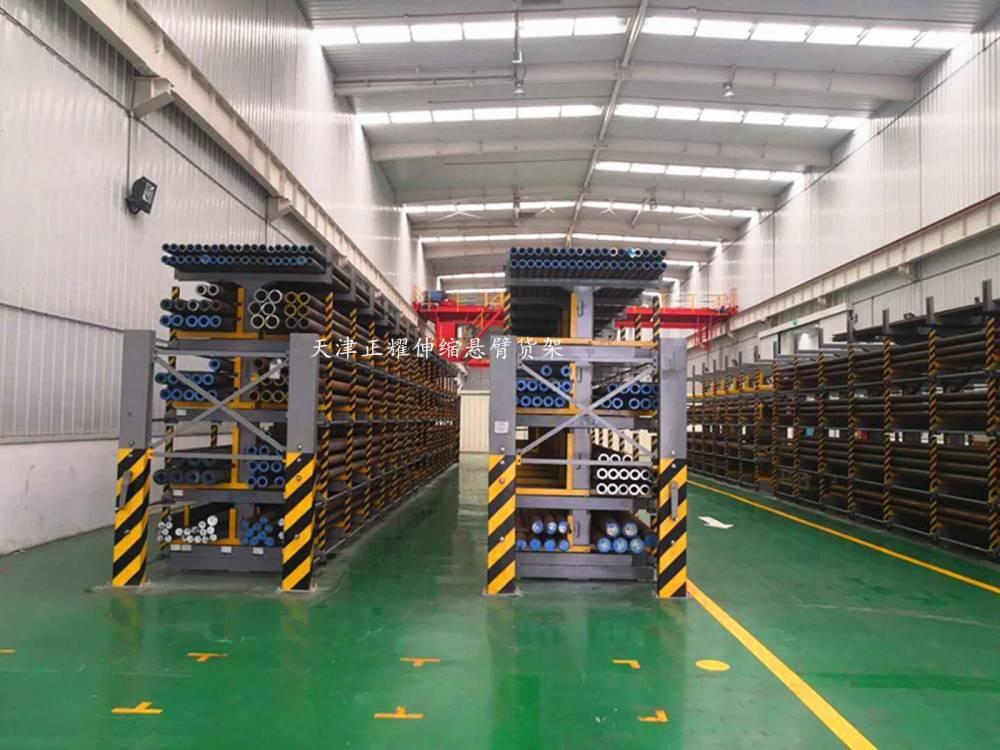 广州伸缩式货架图片 双悬臂货架用料 棒材库配套架子