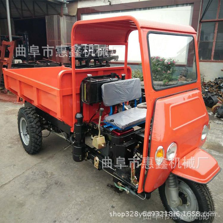 工程混凝土柴油三轮车 拉砖拉土方自卸农用车 定制柴油马力三轮车