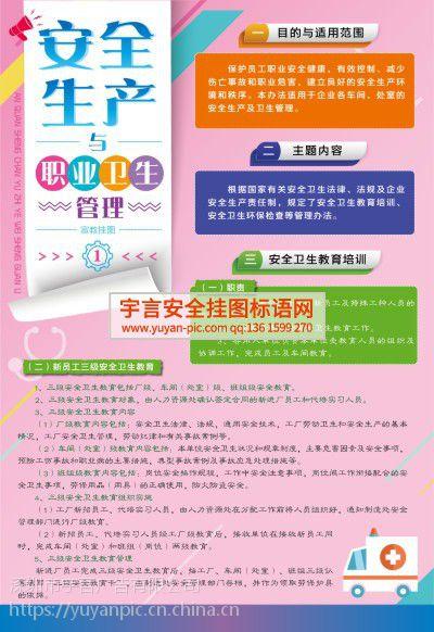 安全生产与职业卫生管理宣教挂图 编号YU1773 规格50*70cm 数量8张/套