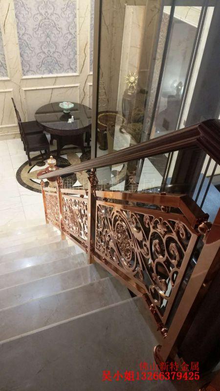 黔江铝板雕刻护栏 实心铝艺楼梯 护栏厂家安装省功夫