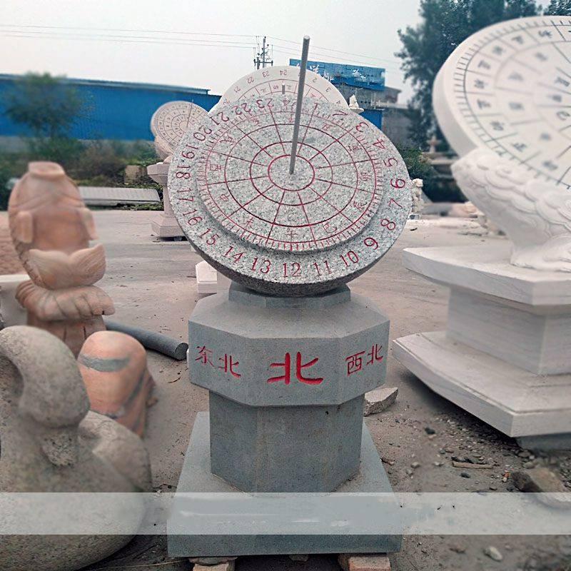 石雕日晷日冕圭表华表古代计时器赤道式太阳表石头刻字罗盘钟表广场摆件曲阳万洋雕刻厂家定做