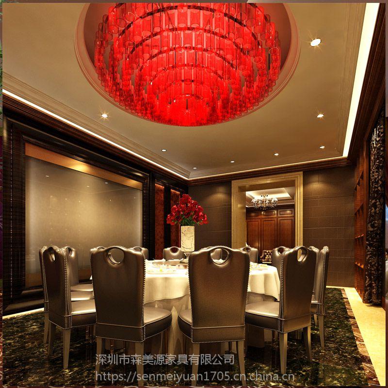 森美源定制新中式实木餐桌椅组合简约现代酒店家具制造派广东名图片