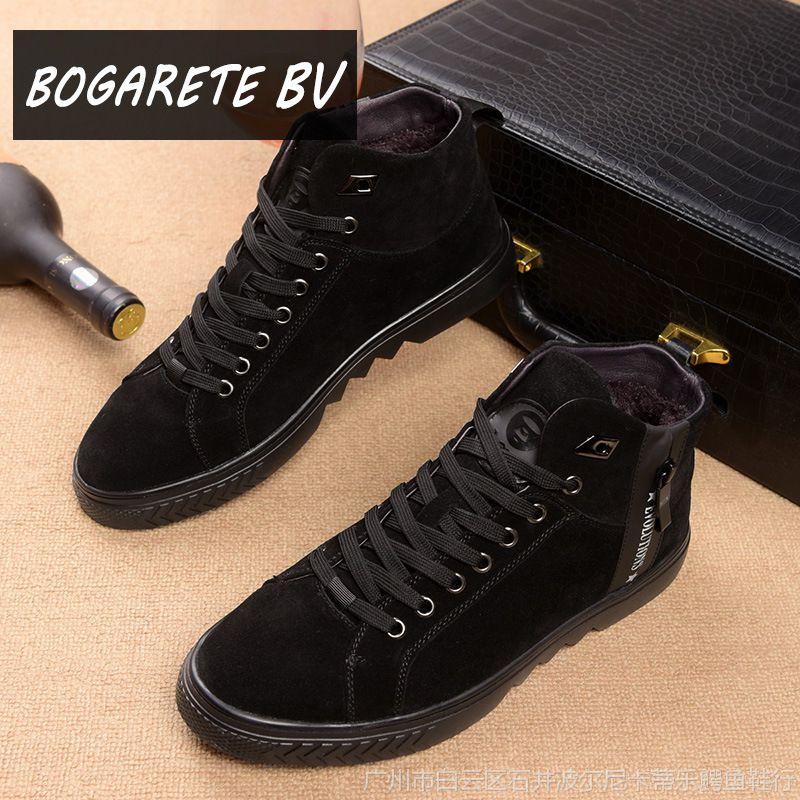 欧洲站男靴磨砂反绒皮男鞋子青年户外运动复古短靴英伦系带男单鞋