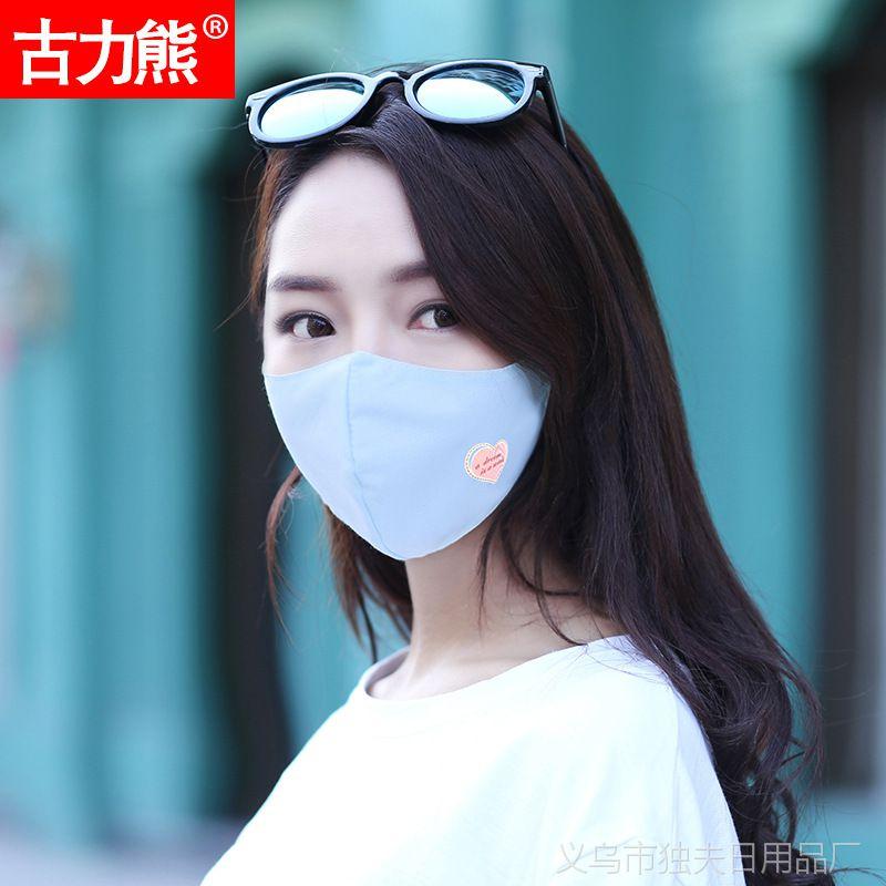 2018新款夏季女防尘防晒丝棉口罩时尚印花薄款可清洗口罩厂家批发