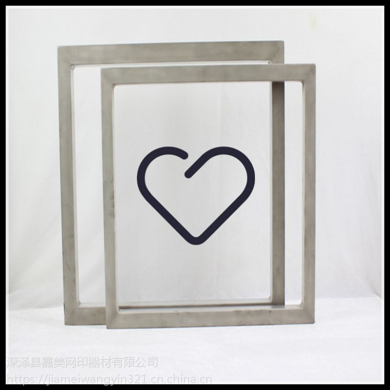 嘉美丝印铝合金网框焊接精良,四角平滑,表面无刮花,规格齐全