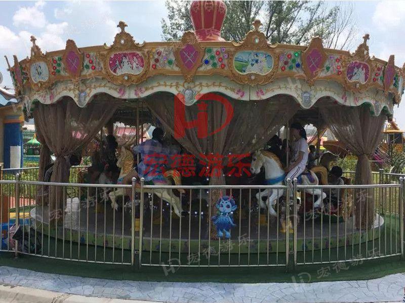 游乐场造型新颖经典游乐项目旋转木马豪华转马游艺机郑州宏德游乐定制