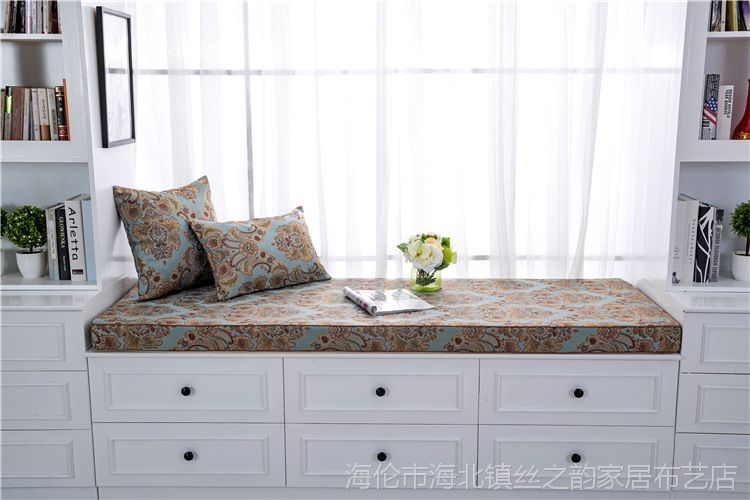 飘窗垫阳台垫定制高密度海绵窗台垫榻榻米垫欧式提花田园现代简约