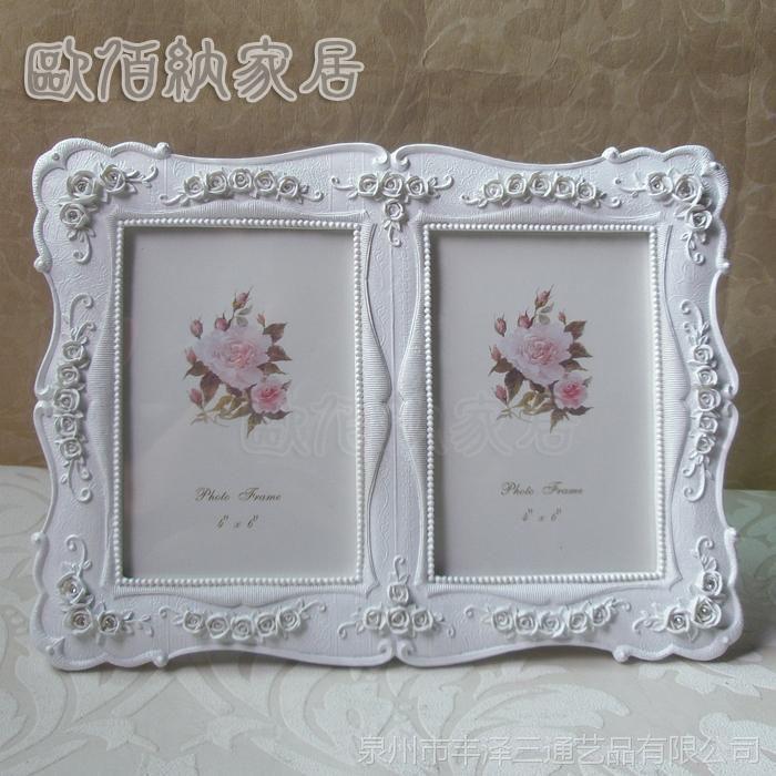 6吋组合双框热销韩版田园手绘纯白树脂相框欧式花纹婚纱照片相架