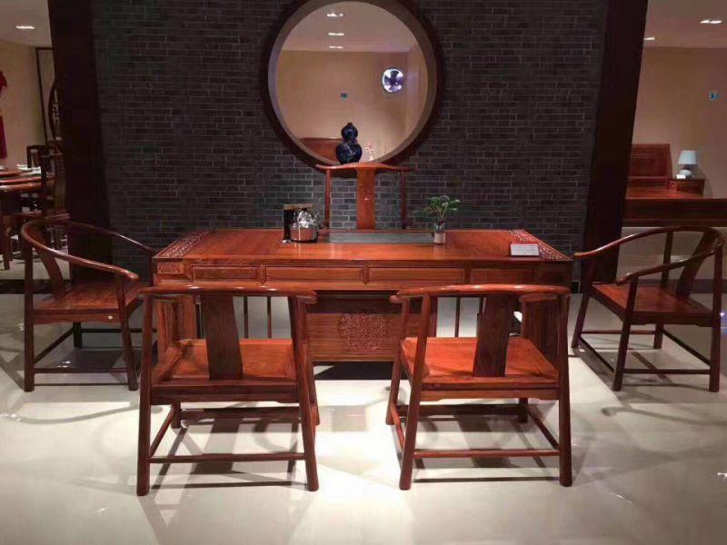 厂家供应红木家具茶桌椅组合6件套长方茶台 刺猬紫檀