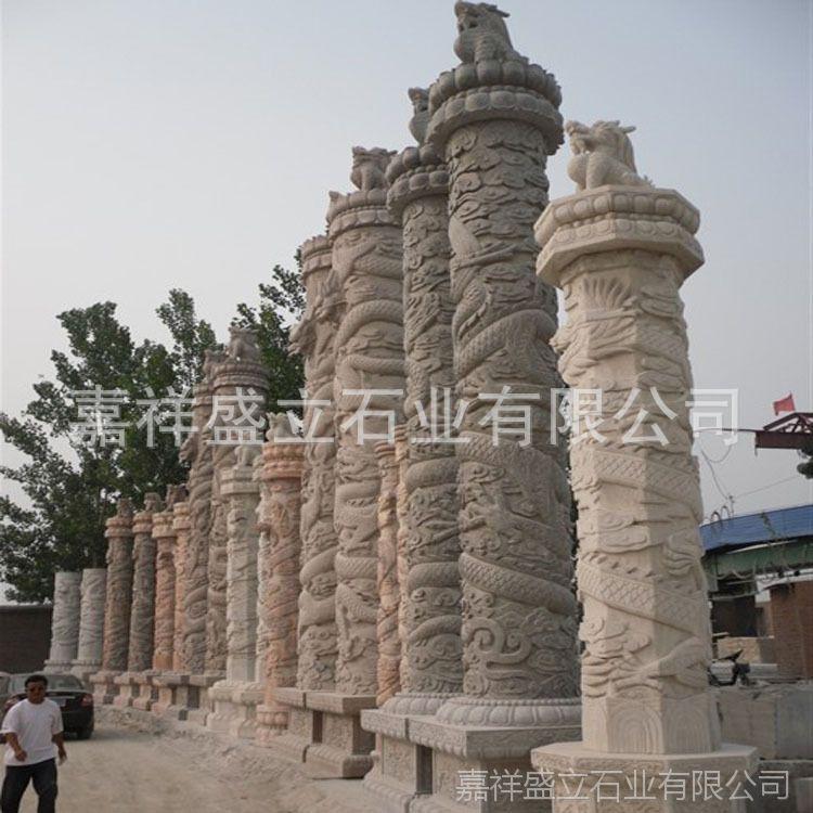 厂家直销石雕龙柱 广场石雕文化柱 寺庙青石龙柱