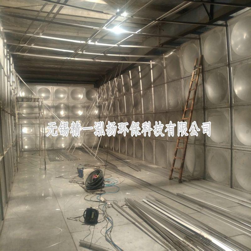 无锡精一泓扬厂家制作拼装304不锈钢水箱现场留影