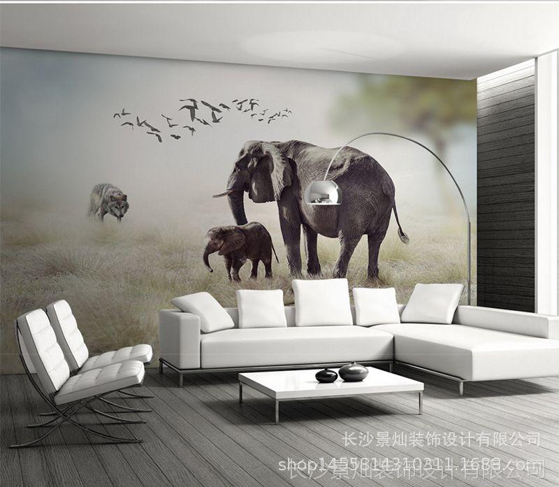 3D动物视觉唯美自然风景大型小车无缝图纸世立体卸料壁画图片